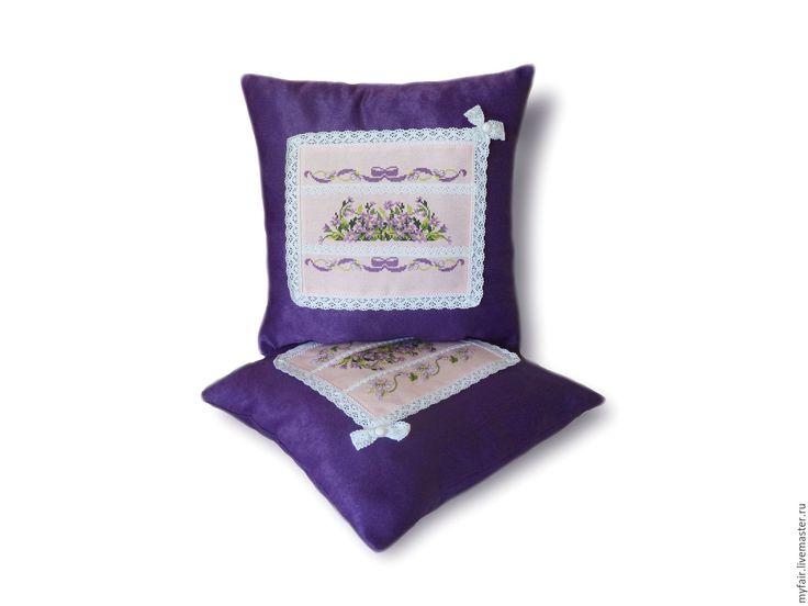 Купить Декоративные подушки с вышивкой Лето. Комплект подушек с ручной вышивк - подушка с вышивкой