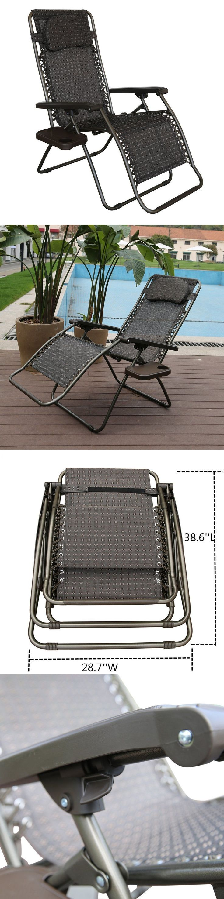 Furniture amp accessories 26 quot camo padded folding anti gravity chair - Chairs 79682 Oversized Recliner Zero Gravity Chair With Detachable Drink Tray Steel Frame