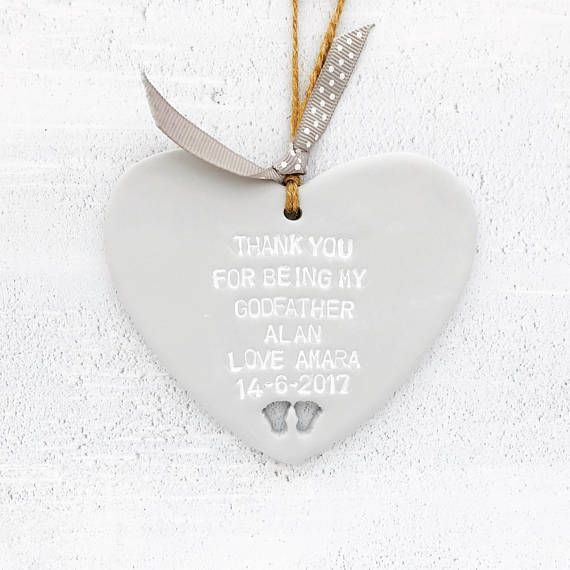 Personalised christening gift, godfather gift, godmother gift, baptism gift, godparent gift, godchild gift, christening present. Made from polymer clay, these personalised christening/baptism hearts are the perfect christening gift or baptism gift for godparents. They can be