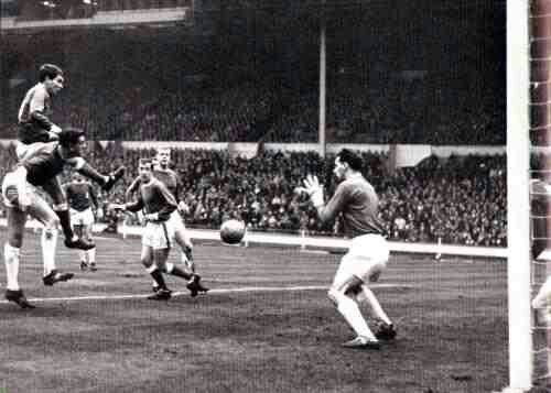 Wealdstone 3 Hendon 1 in April 1966 at Wembley. Geoff Riddy gives Hendon the lead in the FA Trophy Final.
