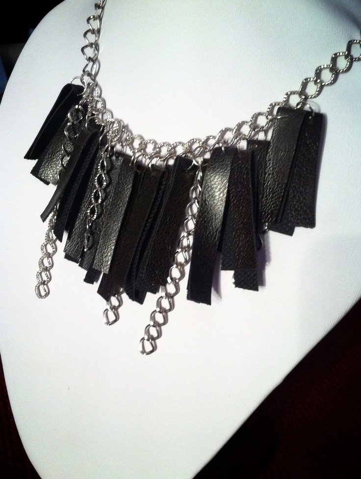 "Ecological leather necklace- from the ""Rock style"" collection"