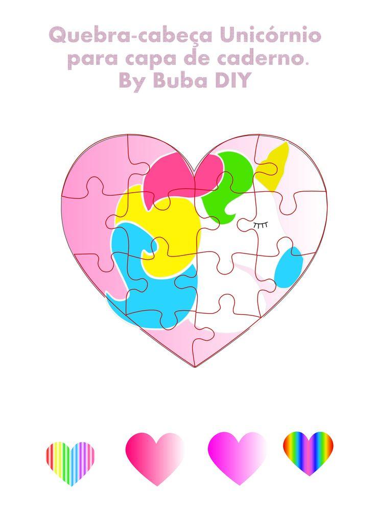 Molde para imprimir, quebra- cabeça de coração e unicórnio, feito no DIY volte às aulas, capa de caderno.