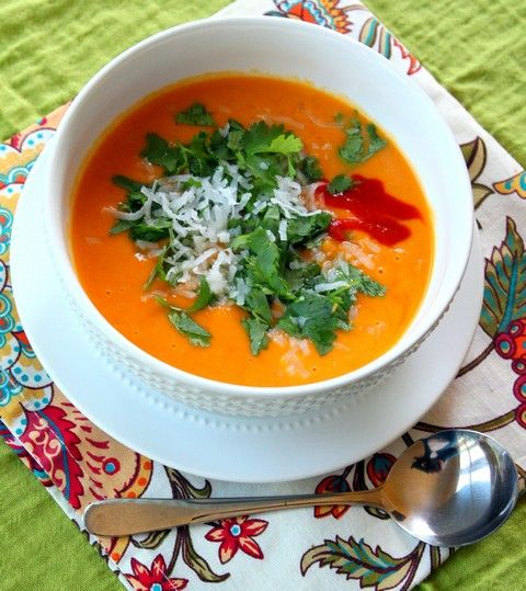 Super healthy butternut squash soup with coconut milk, lime juice, and cilantro from Our Best Bites.
