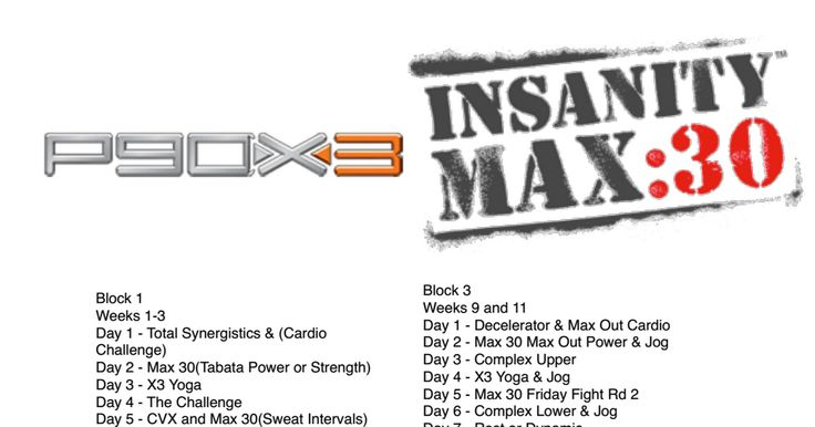 P90X and Insanity Max 30 Hybrid Schedule | Workout! | Pinterest | P90X ...