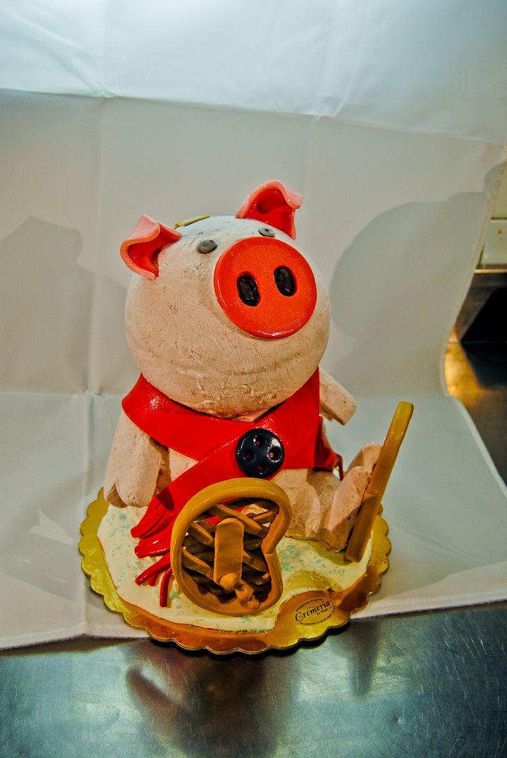 un maiale con le ciaspole...ovviamente
