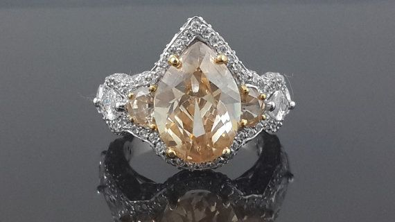 Champagne pear ring sterling silver cubic zirconia