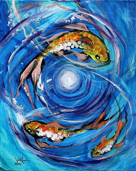 modern abstract fish art acrylic on stretched canvas inches