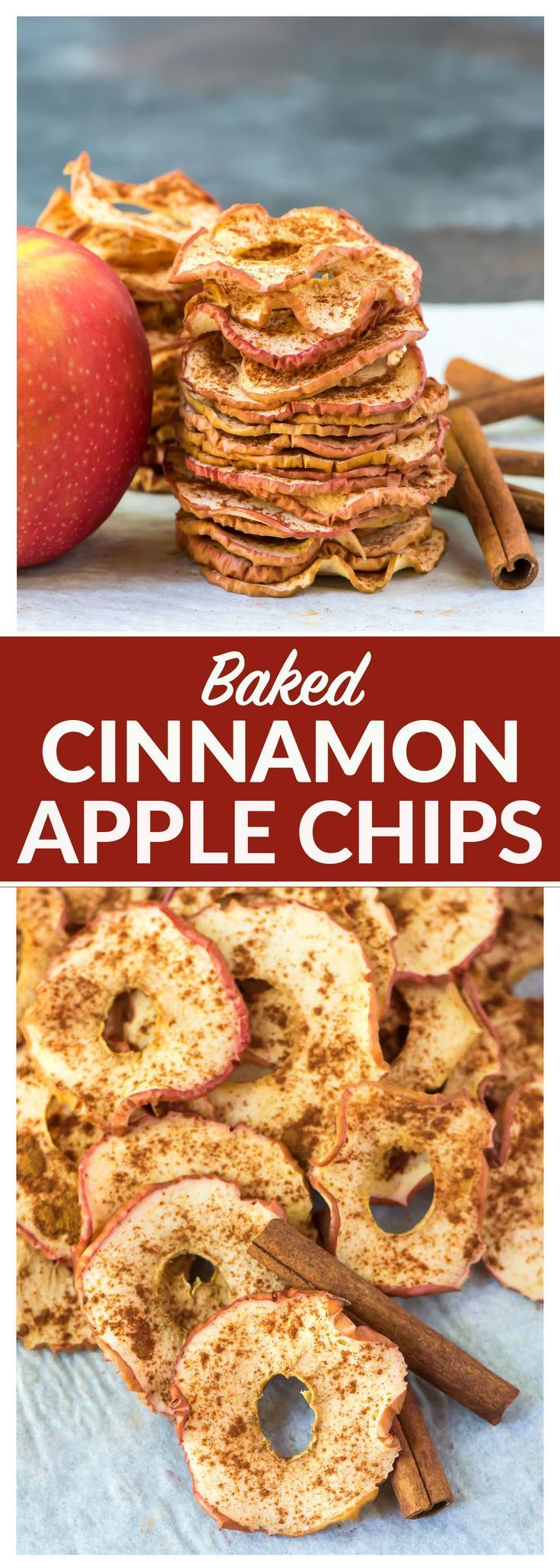 Crispy Baked Cinnamon Apple Chips. Simple oven recipe. No sugar or dehydrator needed! Easy, healthy, and so much better than store bought. Kids love them and they are great for gifts and healthy snacks. Recipe at wellplated.com