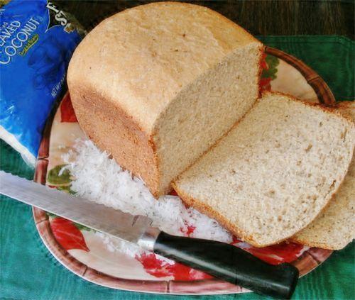 Gluten Free High-Protein Coconut Flour Breadmaker Bread Recipe Breads with hot water, eggs, salt, baking powder, oats, shredded coconut, coconut oil, honey, coconut flour, gluten-free flour, active dry yeast