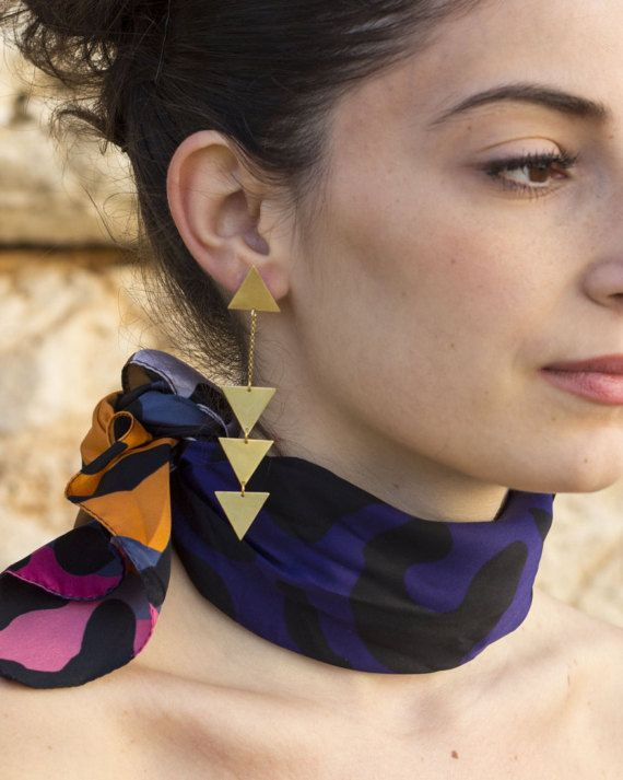 EQUILATERAL DROP EARRINGS Geometric Drop by NARCISSUSJEWELRY