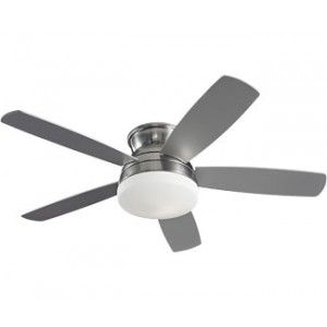 "Monte Carlo 5TV52BSD, Traverse Brushed Steel Flush Mount 52"" Ceiling Fan with Light $198.05"