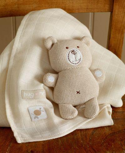 POSHme - Hug Me pletený Medvídek & mušelínová dečka