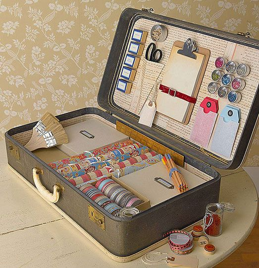Creative storage idea from Better Homes and Garden's DIY publication. Organize your little crafty stuff in a vintage suitcase. #organization #diy