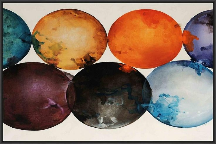 CELESTIAL SPHERES 28L X 28H Floater Framed Art Giclee Wrapped Canvas