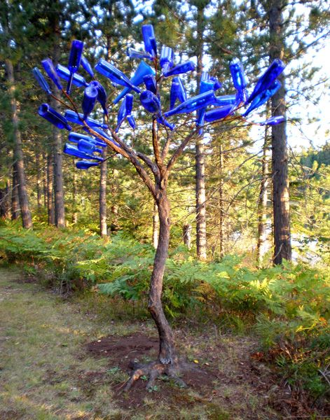 "Blue Bottles For Bottle Tree | Blue Bottle Tree"" 7ft tall, concrete and steel, blue bottles"