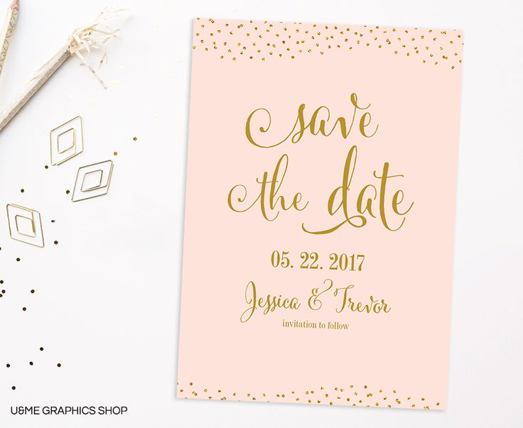 Blush and Gold Save The Date / U&Me Graphics