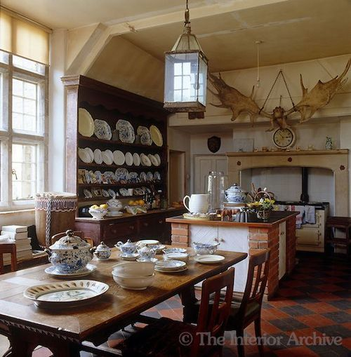 English Country Kitchen, Note The Antlers And Collection Of Plates More