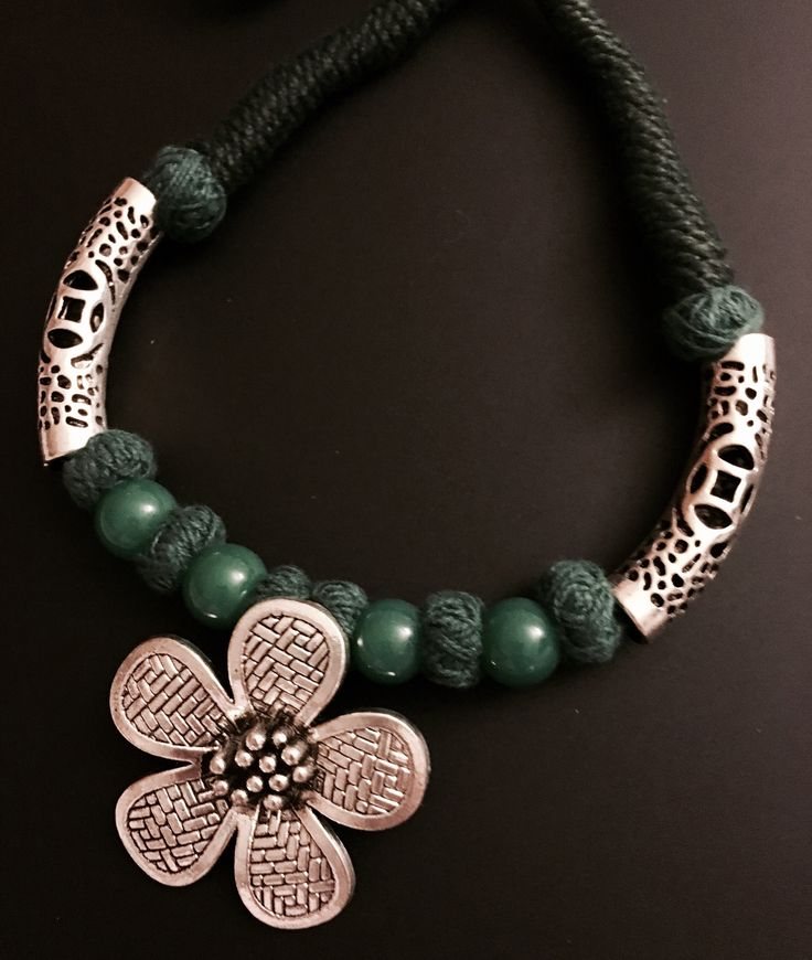 ethnic german silver flower pendant neckpiece