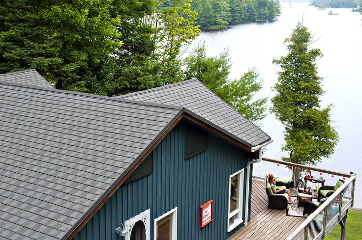 Granite Ridge Metal Shingles Furnish this Ontario Lakeside home- Colour Thunderstorm.  As seen in cottage life magazine and renovator contractor. www.vicwest.com