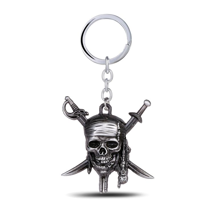 Pirates of the Caribbean Keychain Captain Jack Sparrow Mask Skull and Crossbones  Zinc Alloy Key Chain Ring For Fans Jewelry
