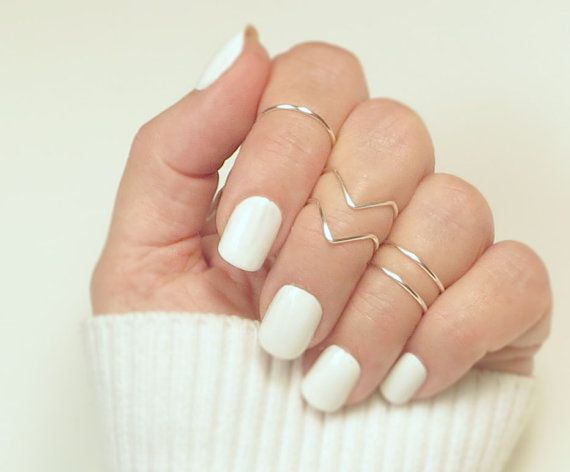 Knuckle Ring Set/ Midi Rings/ Stacking Rings/ Ring Set/ Gift For Her/ Gold or Silver Ring/ Set of 5, 2 Chevrons and 2 Bands/ Jewelry