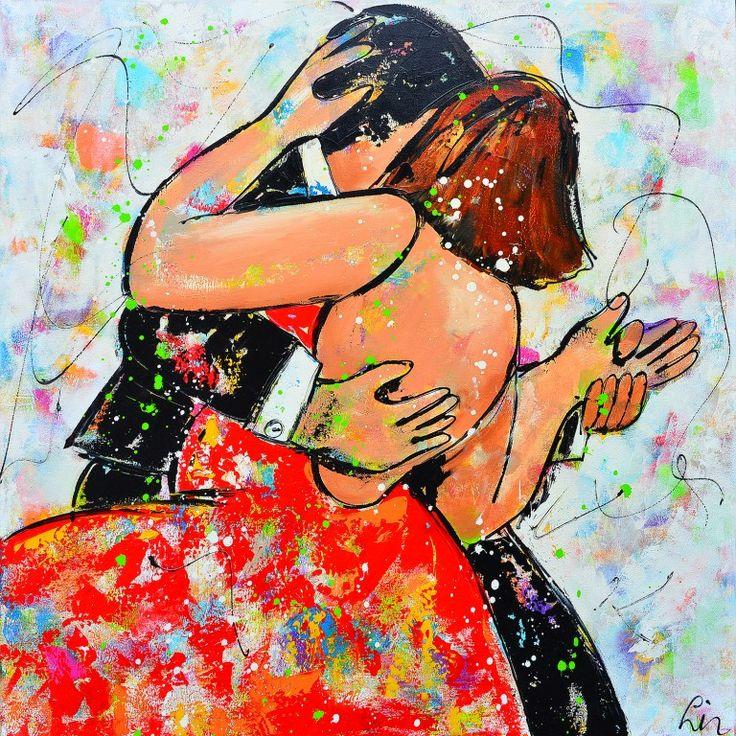 Dit is een: Acrylverf op doek, titel: 'Everybody can dance' kunstwerk vervaardigd door: Liz