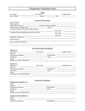 The temporary guardianship form is a free, printable table that allows parents and legal guardians of minor children to grant the power of education, religion, medical care and parental responsibility to a third party, temporarily. Free to download and print