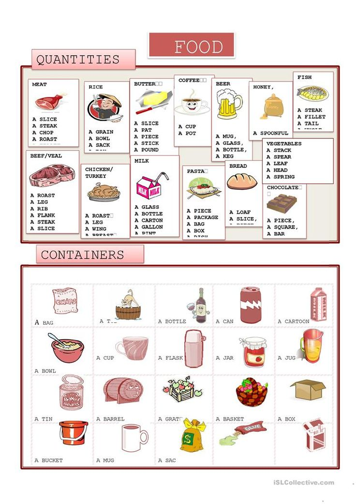 FOOD. QUANTITY AND CONTAINERS worksheet - Free ESL printable worksheets made by teachers