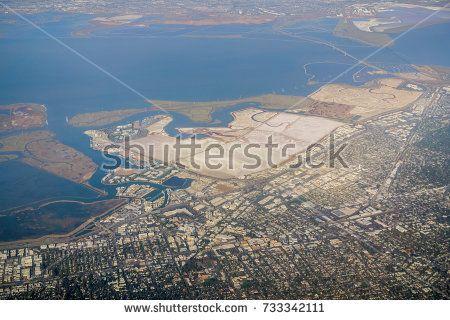 Aerial view of salt evaporation ponds near Redwood City, California