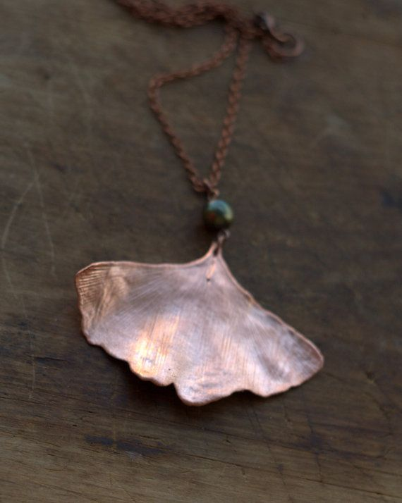 Ginkgo with pearl leaf pendant real leaf by Galvanart on Etsy