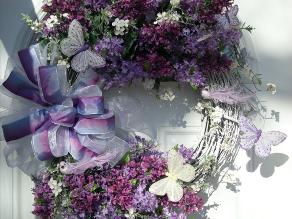 Beautiful Spring Wreath with Lilacs and by cricketsgarden on Etsy, $65.00
