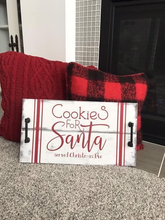 Weihnachten Holztablett. Weihnachtstablett. Weihnachtsmanns Kekse. Weihnachtsmann Tablett. Holliday t … #WoodWorking   – wood projects