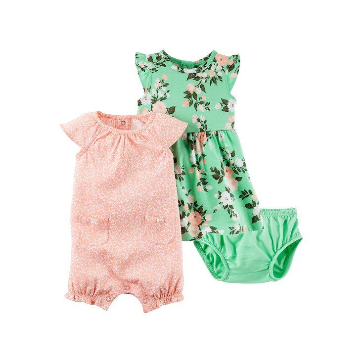 Baby Girl Carter's Dress & Floral Sunsuit Set, Size: 12 Months, Pink
