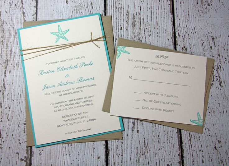 SAMPLE Starfish Wedding Invitations/Beach by TorisCustomCreations, $8.00