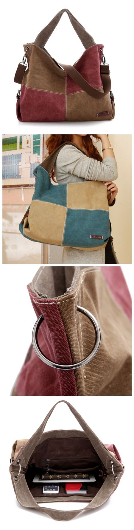 Fashion Women's Contrast Color Canvas Casual Hobo Tote Handbag Shoulder Bags Bagail.com