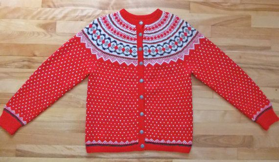 Vintage Handmade hand knit knitted Norwegian Nordic Norway Fair Isle Ski Sweater Cardigan Jumper, Mother's Day Gift, Women's M L