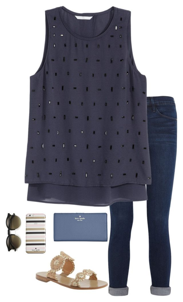 """Untitled #143"" by annakhowton ❤ liked on Polyvore featuring Frame Denim, H&M, Jack Rogers, Kate Spade, women's clothing, women's fashion, women, female, woman and misses"