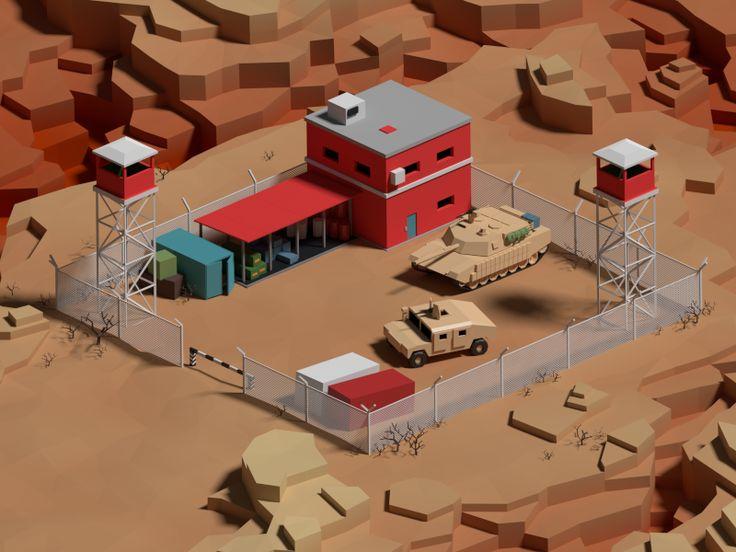 И опять low poly. На этот раз небольшая военная база где-то в пустынных каньонах.
