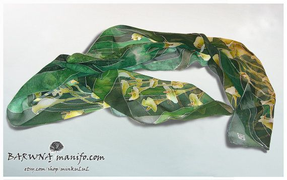 Silk scarf ' Zantedeschia flowers ' hand painted  by MinkuLUL, $52.00