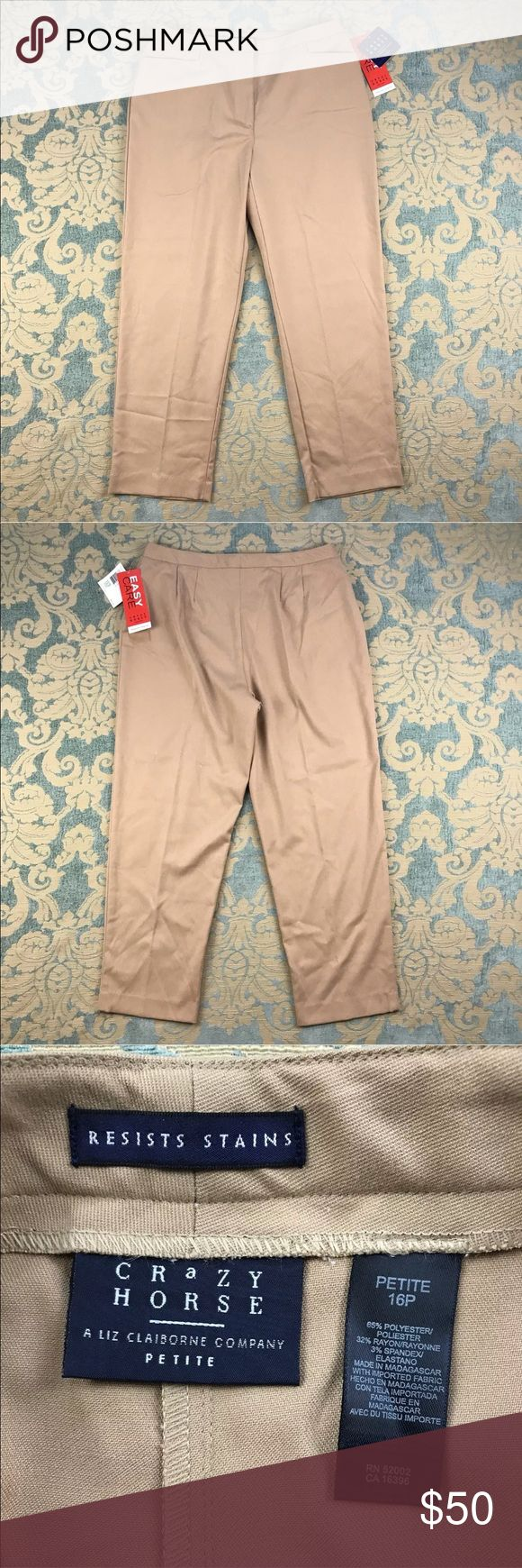 """Crazy Horse Beige Dress Pants 🦋 28"""" Inseam Crazy Horse Beige Dress Pants  Easy Care Resists Stains  Women's Petite Size: 16P  Material: 65% Polyester 32% Rayon 3% Spandex  Noflaws.  Measurements lying flat: Waist 16"""", Hips 23"""", Inseam 28"""", Front Rise 14"""", Back Rise 14"""".  Please, review pictures. You will get the item shown. Smoke & pet free home. Crazy Horse Pants Trousers"""