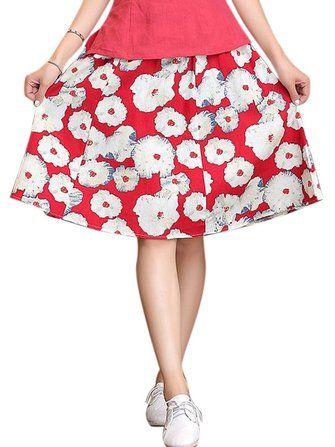 Casual Women High Waist Printing Cotton Linen Bohemian Skirt