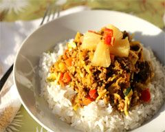 A really easy mince recipe that is a tasty spin on curried mince that has lots of vegetables and crushed pineapple to give it a sweet and sour flavour.  Find more on Kidspot New Zealand's recipe finder