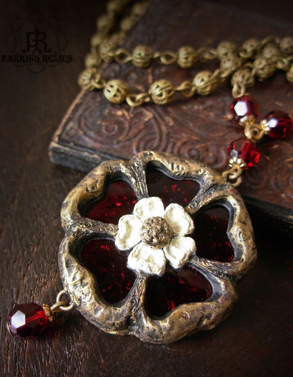 Tudor Rose - Stained Glass Gothic Window Necklace. Could work with Sculpey and mosaics