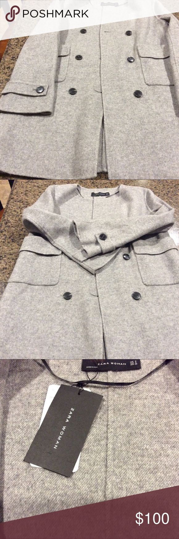 Zara Woman Peacoat wool gray Size S This soft to the touch jacket is both stylish and warm. It's new with tags and in great condition. If you have any questions feel free to contact me. Zara Jackets & Coats Pea Coats