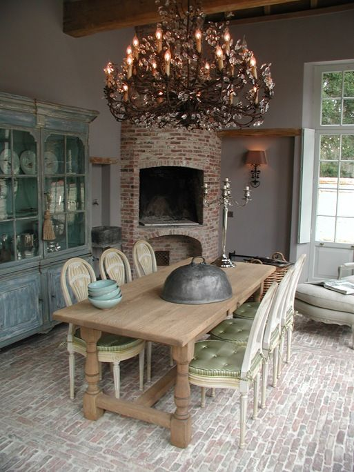Brick Floors Fireplace In Dining Room Painted Buffet