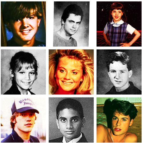 Parks & Recreation cast members at a young age. My question...why is Rob Lowe wearing lipstick?
