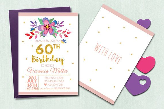 Pretty floral adult birthday party invitation