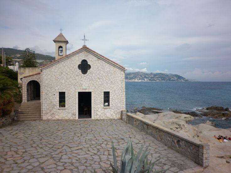 Bordighera, Italy, a cute little church by the sea