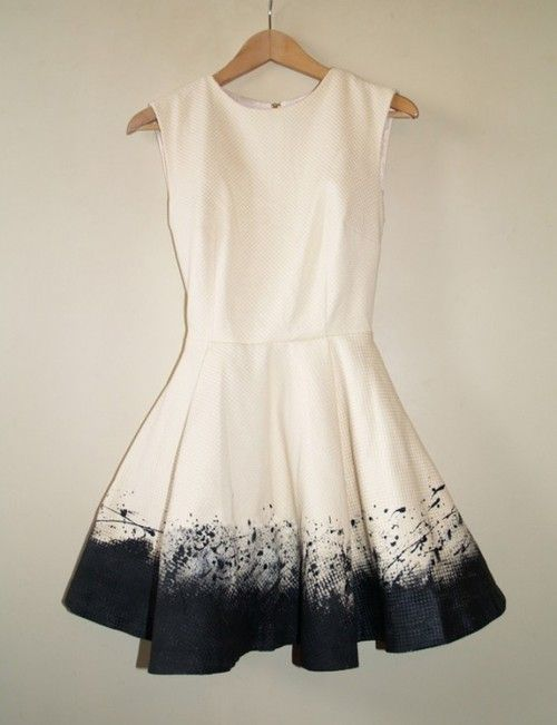 White tea dress with dyed navy/black bottom. Can be a close match!