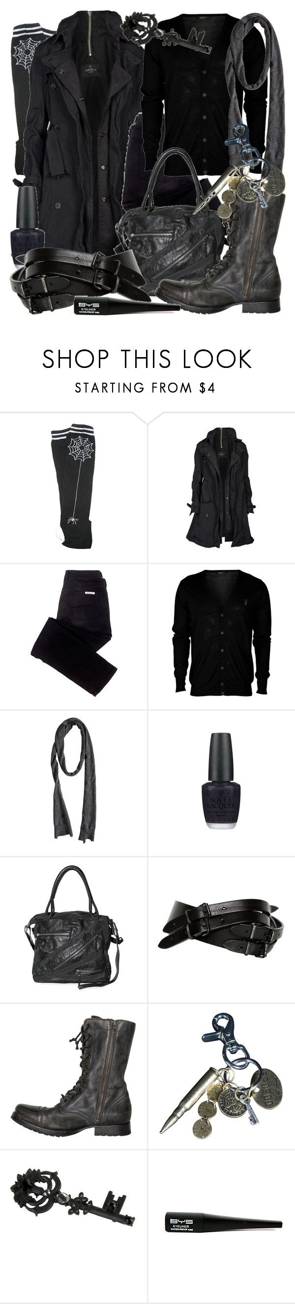 """""""Untitled"""" by astronautalina ❤ liked on Polyvore featuring AllSaints, sass & bide, OPI, Pauric Sweeney, Forever 21, black, all saints and opi"""